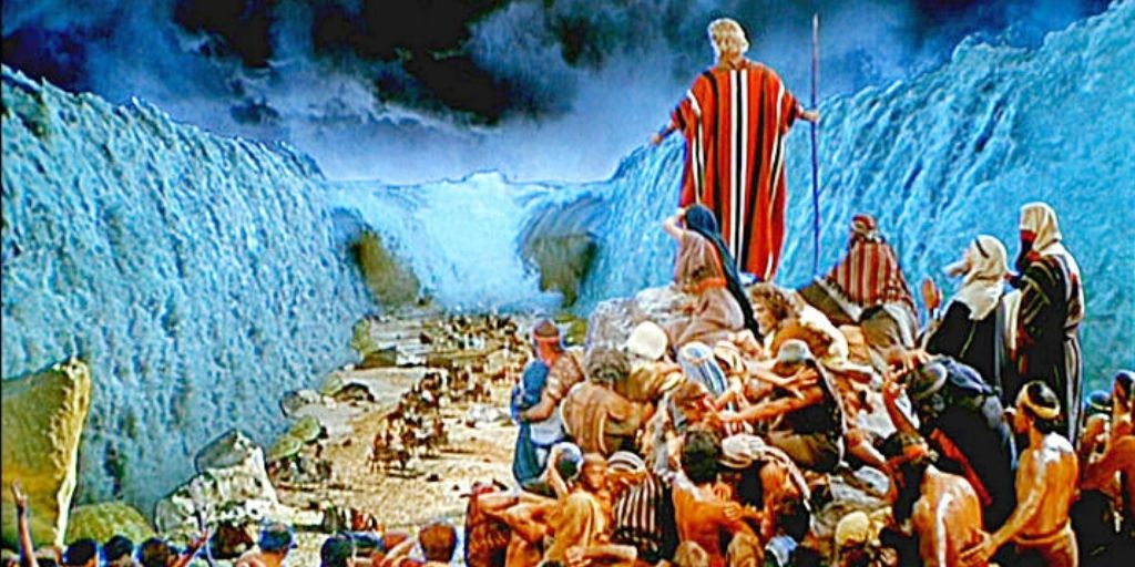scene from the bible - red sea parting